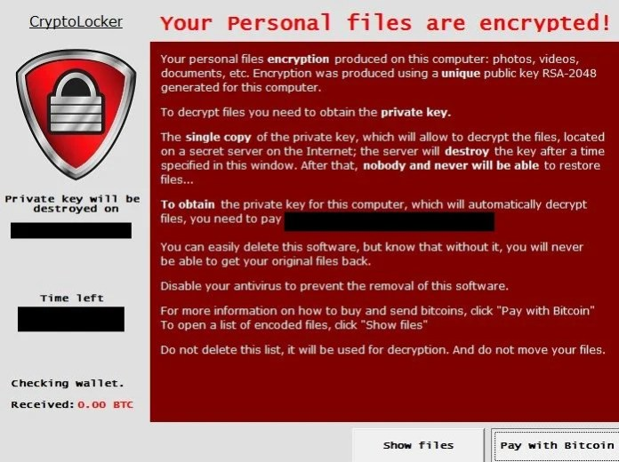 Image: CryptoLocker virus