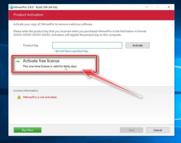 Activate the free HitmanPro license key