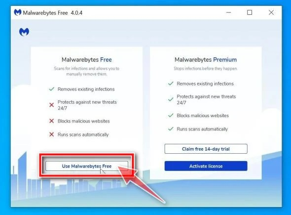 Click on Use Malwarebytes Free to continue with the install