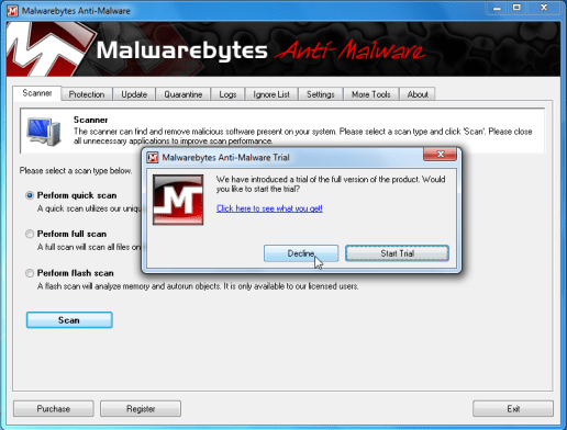 [Image: Decline Malwarebytes trial]