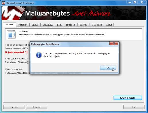 [Image: Malwarebytes scan results]
