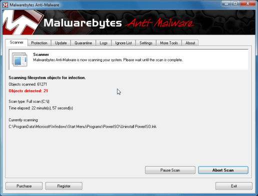 [Image: Malwarebytes scanning for malicious files]
