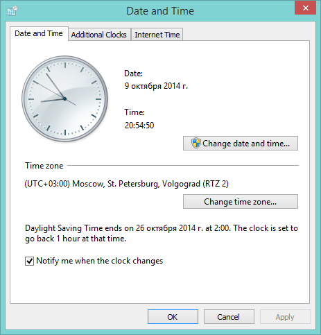 Windows 8: Daylight Saving Time ends on October26, 2014 at2:00. The clock is set to go back 1hour at that time.