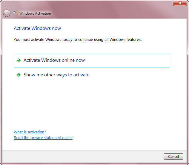 You must activate Windows now to continue using all Windows features