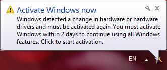 Balloon notification: Activate Windows now