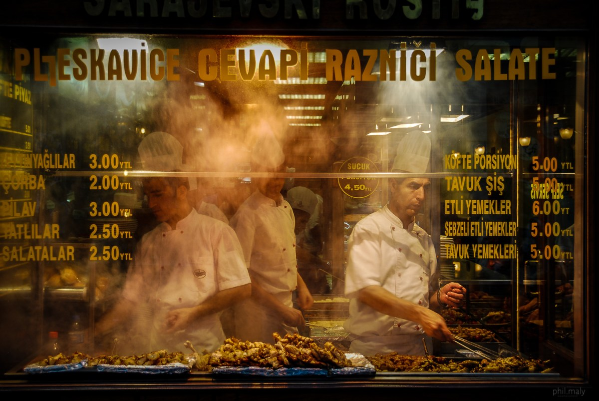 Traditional roasted meet Turkish style in a street shop