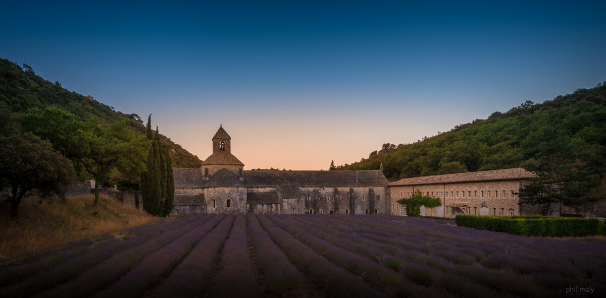 The beautiful Abbaye de Notre-Dame de Sénanque at sunrise with a lavender field in front