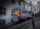 Lisbon's famous cablecar full of graftitis