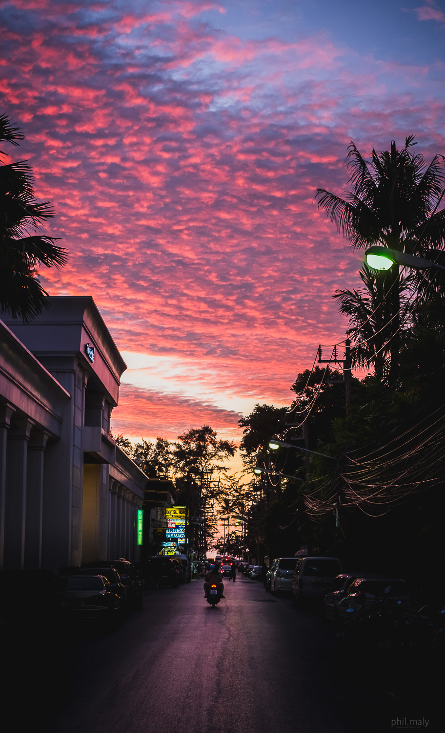 Cloudy sky on fire at sunset in Patong