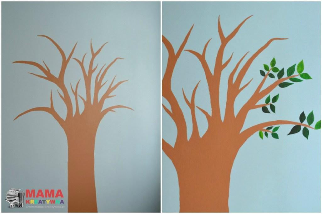 drzewo namalowane na ścianie