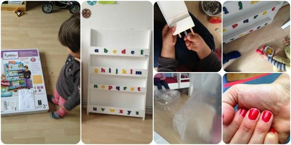 Kinder aufräumen und Bücherregal aufbauen