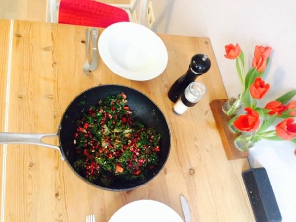 Mittagessen Grünkohl Salat