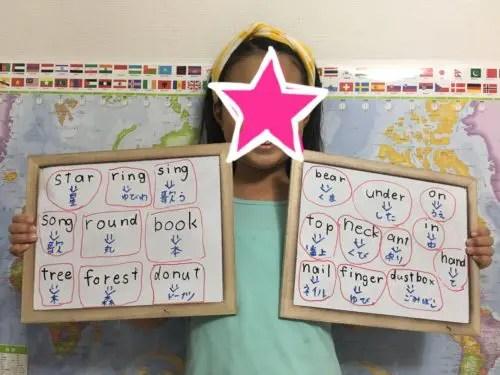 たくさんの英語が書かれたホワイトボードを持っている女の子