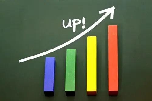 棒グラフが右上がり UPの矢印付き