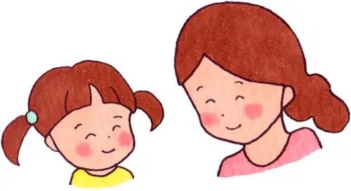 親子が笑顔で会話しているイラスト