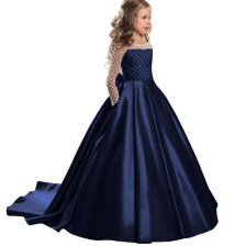 Navy Girl Dresses for events Long