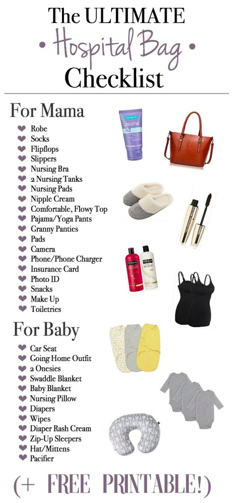 The Ultimate Hospital Bag Checklist (+ FREE Printable!) Helping YOU pack your hospital bag! | Mama Bear Bliss - www.mamabearbliss.com
