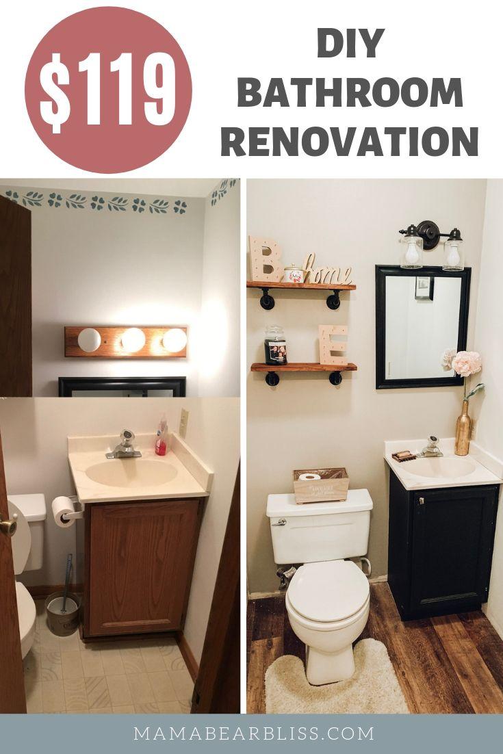 Diy Bathroom Renovation Under 200 Mama Bear Bliss