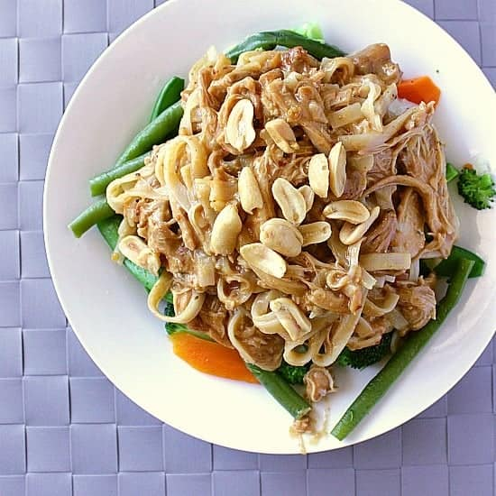 Crock-Pot Peanut Chicken. Straight up delicious! Super peanuty, salty and sweet in all the right ways with the perfect degree of spice.