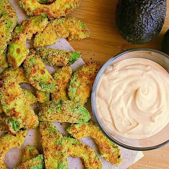 Low Carb Avocado Fries with Chipotle Mayo! These crispy avocado fries are deliciously low carb and perfectly paired with chipotle mayo.