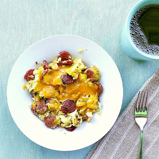 Scrambled Eggs with Leftover Smokies. Got some leftover smokies to use up? You've gotta try this recipe for Scrambled Eggs with Leftover Smokies! The fried smokies mix wonderfully with the peppers, red onion, eggs and cheese. A perfect low carb breakfast that will keep you full for hours!