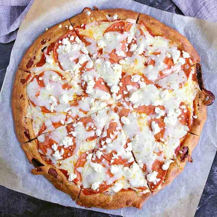 Pepperoni and feta fathead pizza.