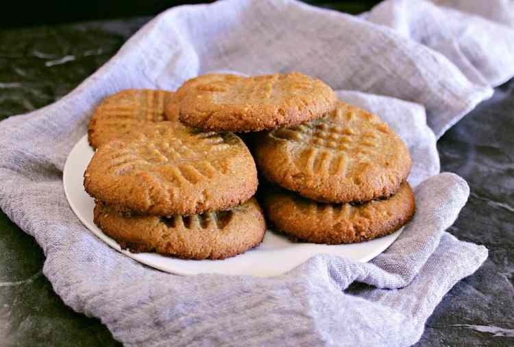 Plate of low carb peanut butter cookies.