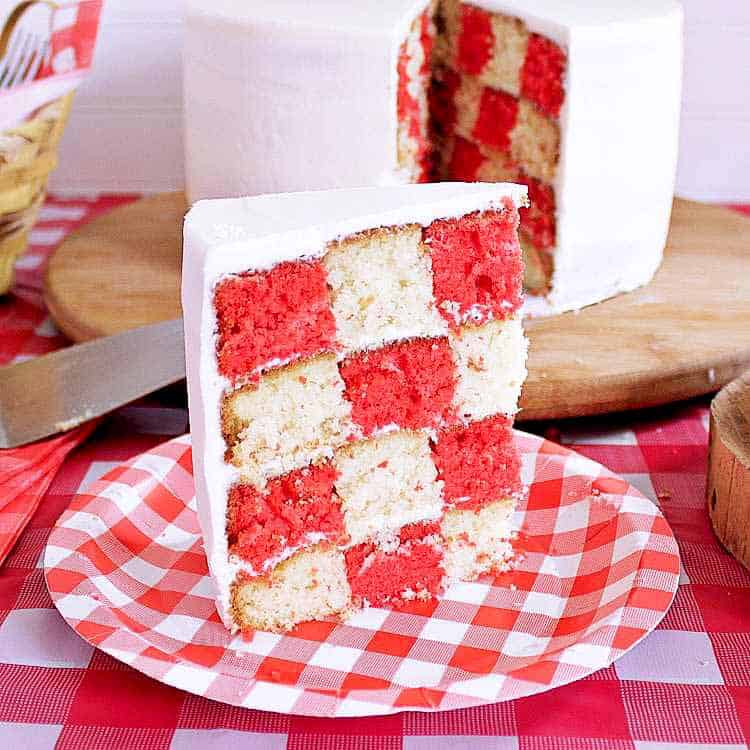 Slice of picnic party cake.