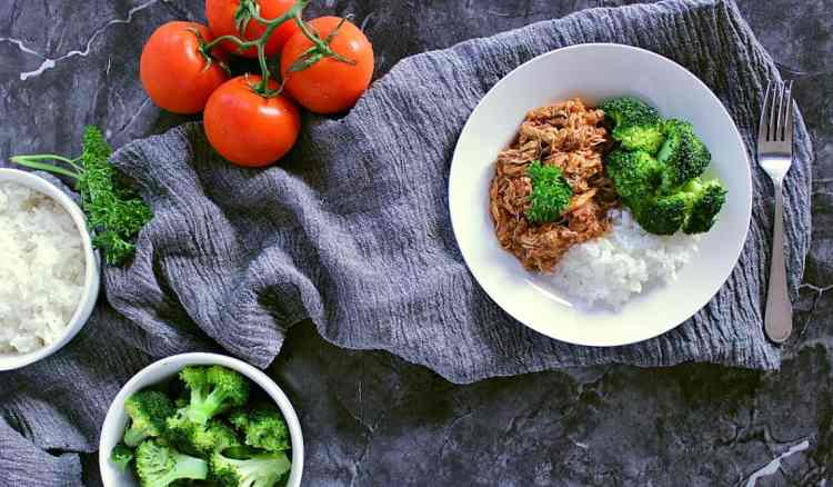 Plate with salsa barbecue chicken thighs, rice and steamed broccoli.