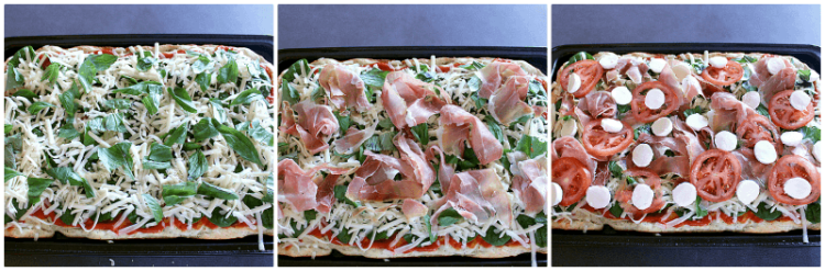 Impress your friends with this incredibly delicious Homemade Focaccia Pizza with Prosciutto, Basil and Bocconcini. Don't worry, it's super easy to make!