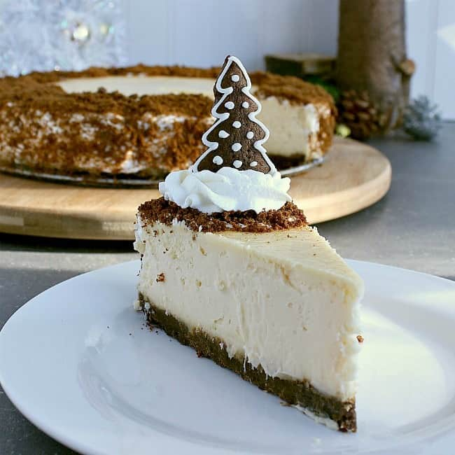 Slice of gingerbread crust cheesecake.