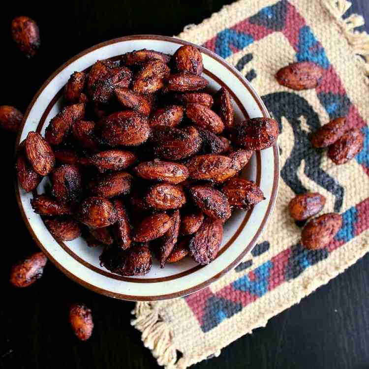 Bowl of BBQ Roasted Low Carb Almonds.