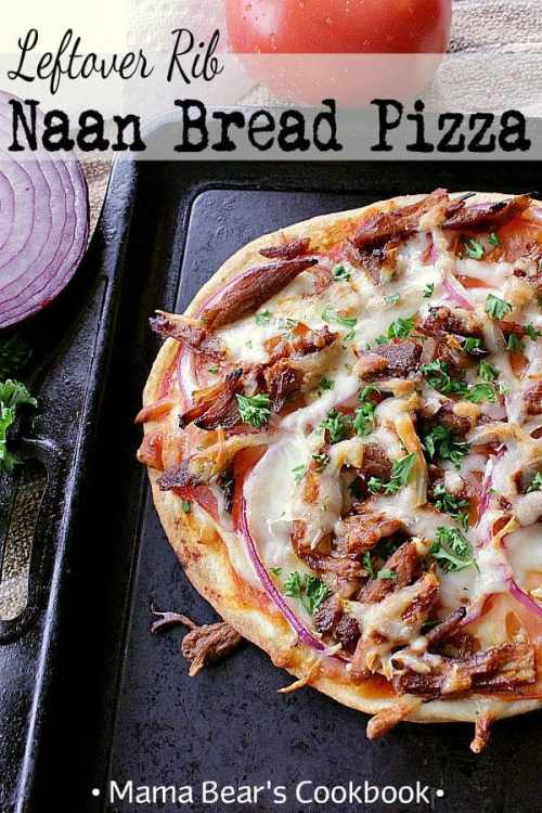 A delicious way to use up saucy ribs for a mouthwatering quick meal, these yummy Leftover Naan Bread Pizzas take minutes to throw together for a quick weeknight meal. #pizza #weeknightmeal #easy #naanbread #ribs #mamabearscookbook