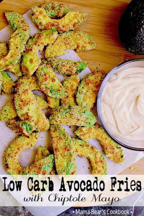 These crispy avocado fries are deliciously low carb and perfectly paired with chipotle mayo. Make these Low Carb Avocado Fries to pair with your next meal or as a keto appetizer! #lowcarb #keto #glutenfree #avocado #fries #sidedish #appetizer #mamabearscookbook