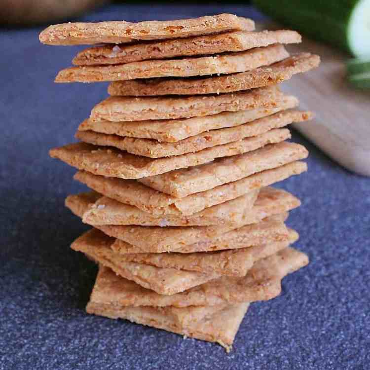 Giant stack of low carb cheese crackers.