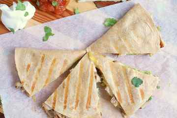 These Low Carb Quesadillas are loaded with cheese, avocado, chicken and low carb refried beans. They are ready in minutes and are deliciously guilt free!