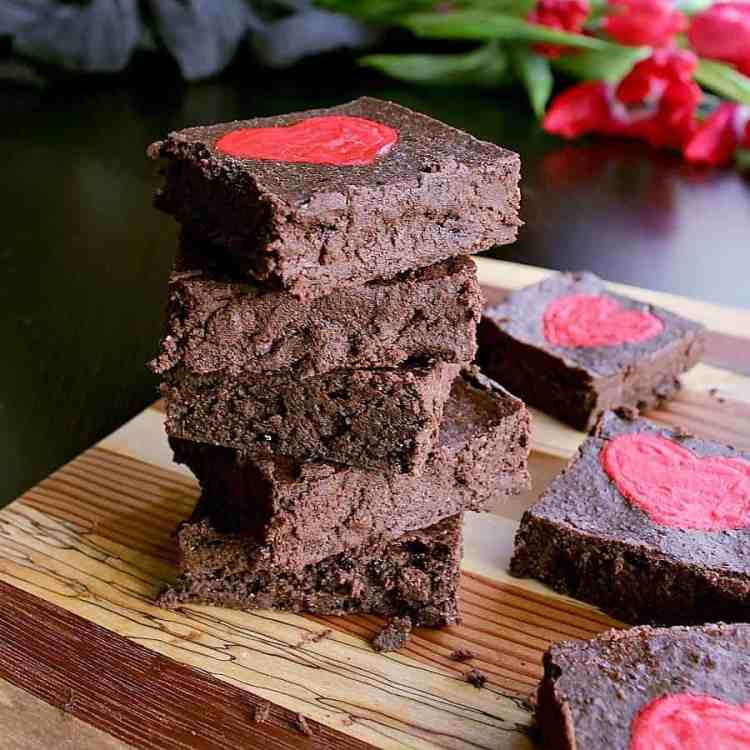 Stack of low carb valentine's day brownies.