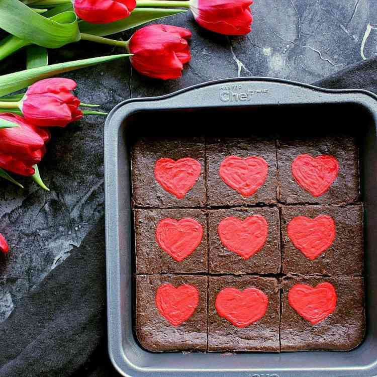 Pan of Low Carb Valentine's Day Brownies, fresh from the oven and sliced into 9 squares.