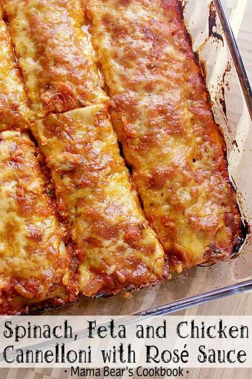 Better than lasagne, this delicious pasta is stuffed with chicken, feta and spinach, baked in a rosé sauce and smothered in freshly grated parmesan cheese. #cannelloni #pasta #rosesauce #dinner #mamabearscookbook