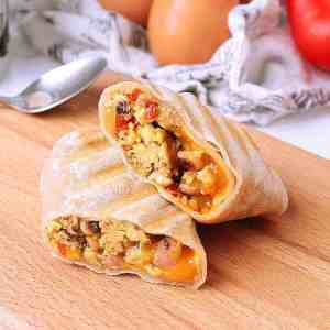 Low Carb Breakfast Burritos with Ham, Peppers and Cheese