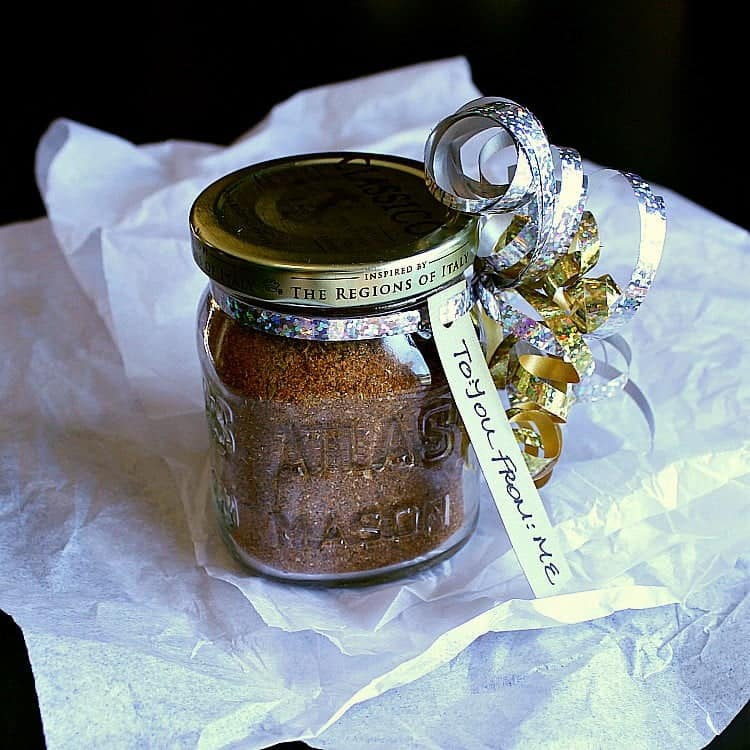 Low Carb Taco Seasoning in a jar, tied with ribbon and a 'to: you, from: me' tag.