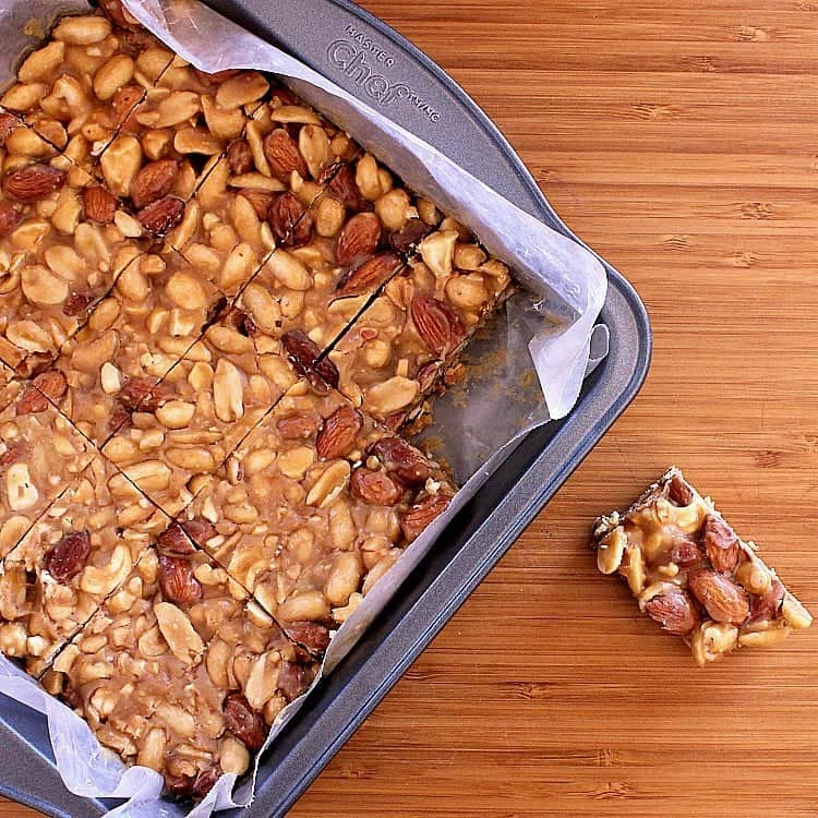 Pan of low carb nut bars.