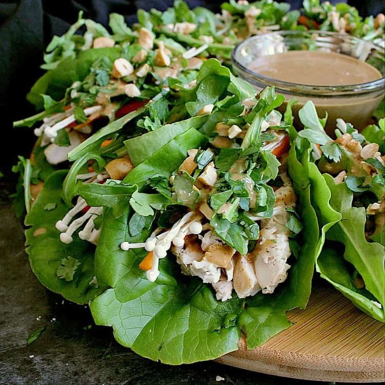 Platter of keto chicken lettuce wraps.