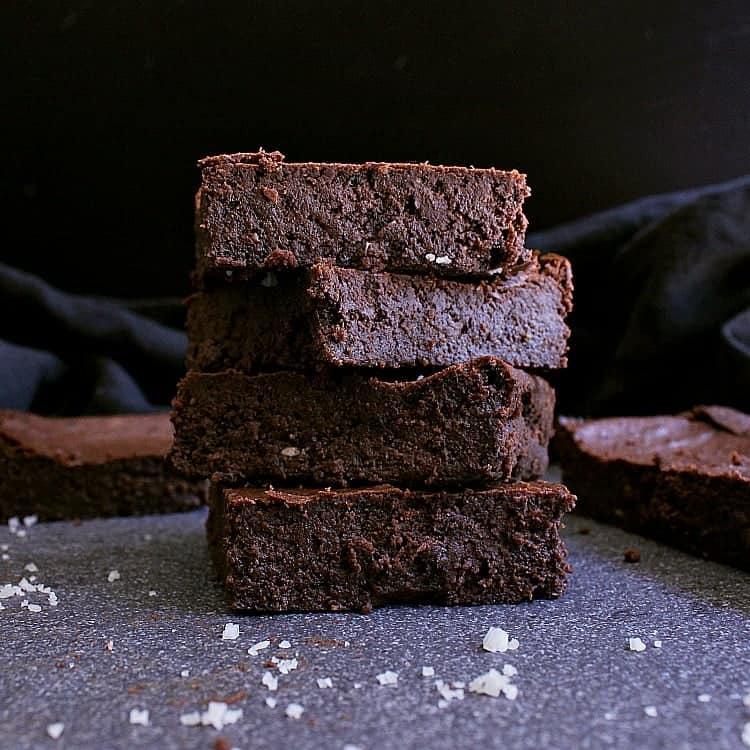 Stack of keto chocolate brownies
