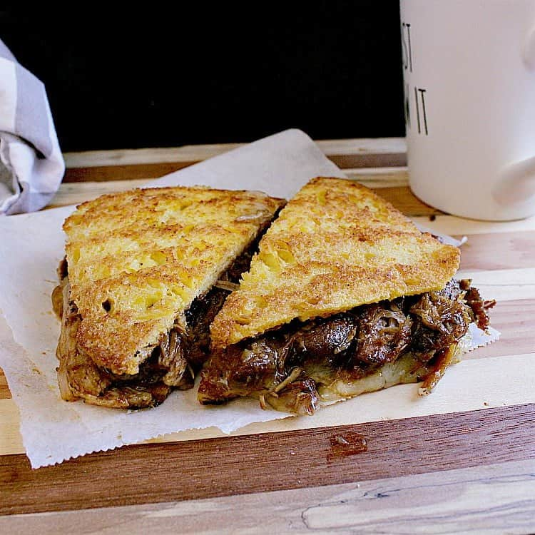 Keto Grilled Cheese with Instant Pot BBQ Pulled Pork and Monterey jack cheese.