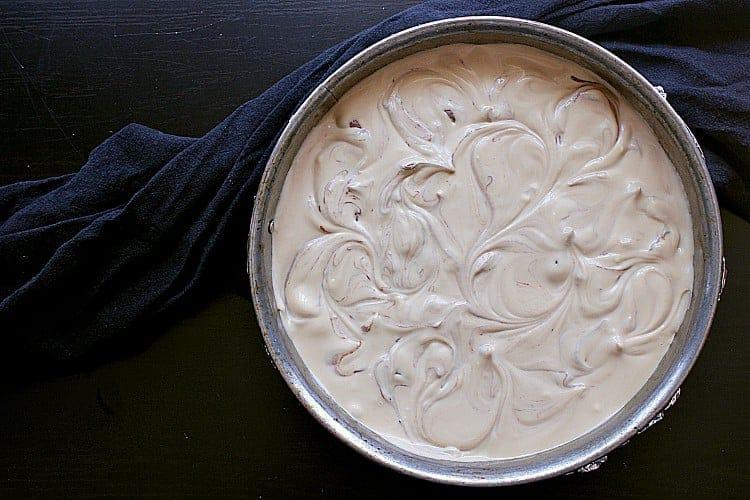 Beautifully swirled keto mocha cheesecake.