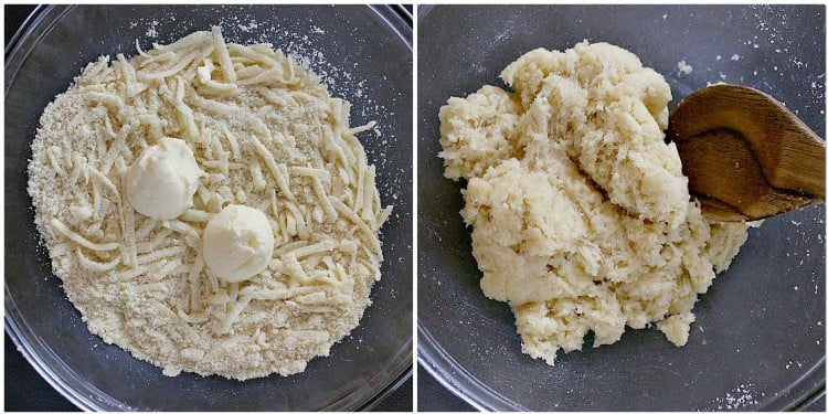 Dough being made.