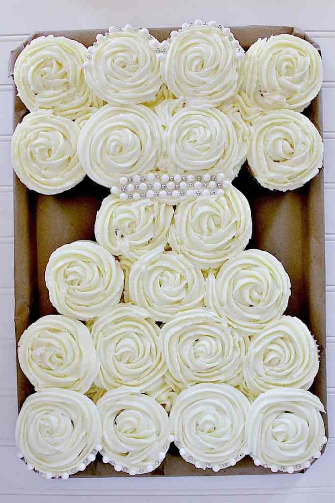 wedding dress cupcakes, fully made and ready for the party.