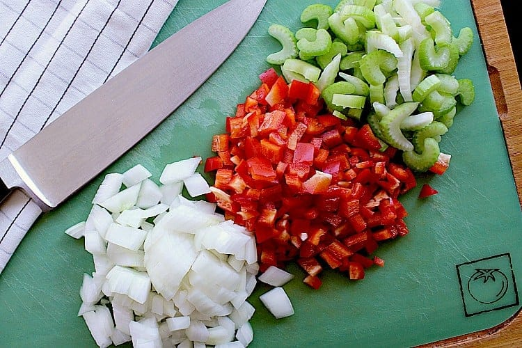 Diced onion, red pepper and celery.