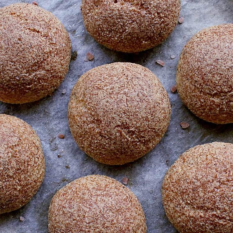 Close up of freshly baked keto dinner rolls.